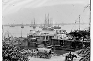 Federal supply boats in the harbor of City Point, Virginia, 1865